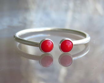 Coral ring, Red ring silver, Bright red ring, everyday wear silver ring - 3mm cabochon ring