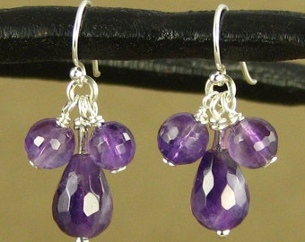 Amethyst and sterling silver cluster earrings.