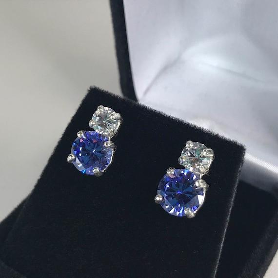 Beautiful Tanzanite: Beautiful 6ctw Violet Blue Tanzanite & White Sapphire Sterling