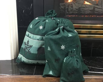 Green Moose Flannel, Dark Green, Fabric Gift Bag, Christmas Fabric Gift Bag, Christmas Gift Bag, Up to Set of 5, Christmas Gift, Upcycled