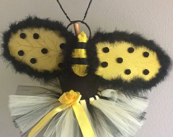 Bumble Bee costume with wings and Antennae- custom made up to 6x girls's size