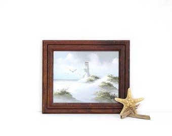 Vintage Seashore Lighthouse Oil Painting