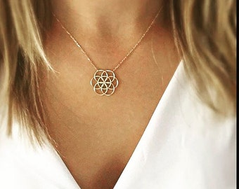 "Seed of Life Necklace -  (16+2"" Chain)"