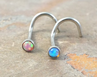 Nose Ring Nose Piercing Pink Opal and Turquoise Blue Fire Opal