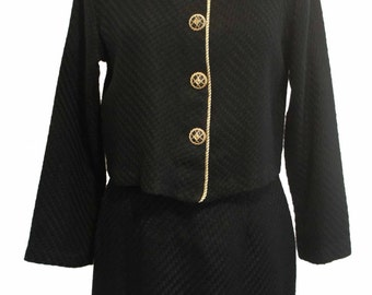Vintage vtg 1970's women's knit gold trim velvet collar button up decorative acrylic blend jacket with high waisted skirt suit