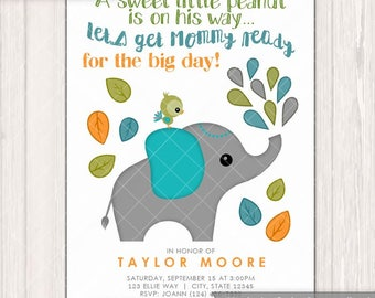 Mod Elephant Baby Shower invitations Boys Teal and Orange Green Made2Order Personalized DIGITAL INVITATION #428