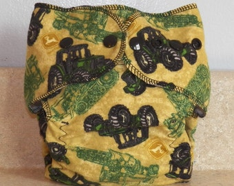 Fitted Small Cloth Diaper- 6 to 12 pounds- John Deere Tractor- 17007
