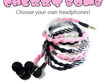 Wrapped Headphones - Custom Pink Black Ombre Earphones - Tangle Free Macrame Earbuds - iPhone 8 Earpods, Android, Samsung, Skullcandy, Sony