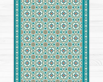 Turquoise Vinyl floor mat with decorative Spanish tiles pattern. PVC area rug, kitchen rug, printed on linoleum.
