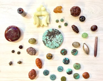 Lot of Mixed Crafting Beads   Jewelry Supply   Crafting Supplies   Jade Beads   Turquoise Beads   Wood Carved Beads   Glass Beads   Silver