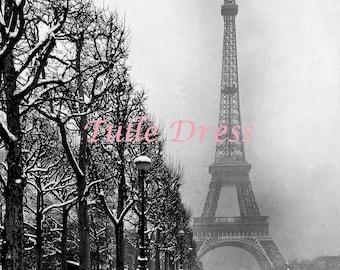 Snowy Paris Black and White Eiffel Tower Holiday Glittery Winter Snow Customized Christmas Cards (set of 10)