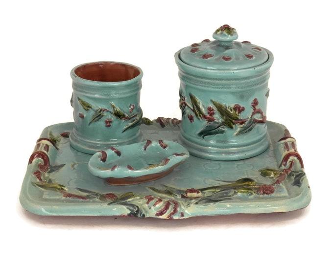 French Antique Majolica Tobacco Set. Ceramic Tobacco Jar, Cigarette Holder, Ashtray and Platter. Desk Organizer. Hors d'oeuvre Set.