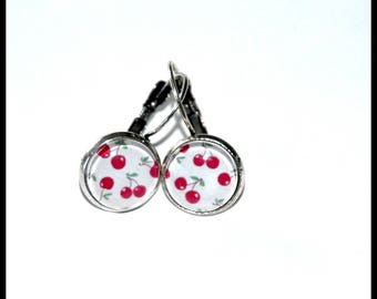 Small earrings small cherry