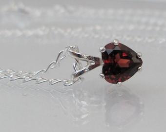 Garnet Heart Pendant in Sterling Silver, Garnet Necklace, January Birthstone Jewelry, Mothers Day Gift, Garnet Jewelry, Red Heart Necklace
