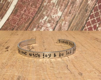You Will Go Out With Joy And Led With Peace/Bible Verse Bracelet/Personalized Gift/Bereavement Gift/Gift For Mom/Gift For Her/Isaiah 55:12