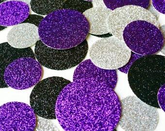 Silver Confetti Silver Circle Glitter Confetti Purple Confetti Table Confetti Purple Confetti Black Confetti