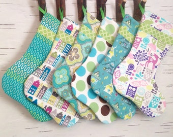 READY TO SHIP - Modern Christmas Stockings With Green Ribbon