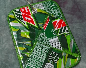 Luggage Tag from Recycled Mt Dew Soda Bottle Labels