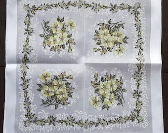 Vintage Cotton Lehner Handkerchief White Print Floral Yellow