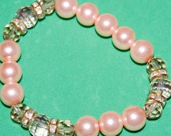 Pink Pearl Bracelet with Crystals and Rhinestone Spacers; Earrings included