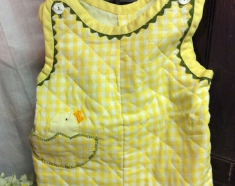 Vintage Hand Made/Embroidered Duckie Childs Romper
