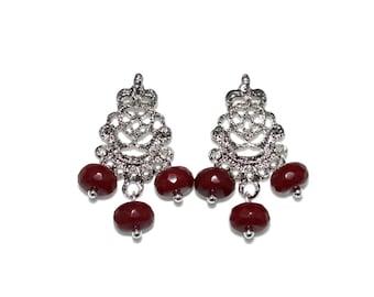 Ruby Filigree Chandelier stud drop silver earrings, Mothers Day, Sister gift, Ruby earrings, July birthstone earrings, July birthstone gift