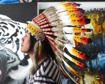 The Original - Real Feather Rasta Chief Inspired Replica Headdress 65cm, Native American Style Costume Hand Made War Bonnet Hat
