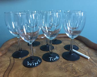 Wine glasses with Chalk Board Base for personalization