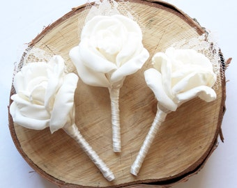 Lace Wedding Boutonniere, Ivory Wedding Fabric Boutonniere, Grooms and Groomsmen Boutonnieres