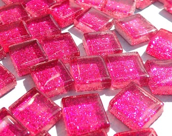 Dark Pink Tiny Glitter Tiles - 1 cm - Use for Mosaic Jewelry Crafts - 100 Metallic Tiny Glass Tiles - Fuchsia