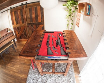 Dining Height Secret Compartment Table For Storing Guns Or
