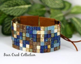 BoHo Wrap Bracelet, Earthy Blues, Tila Bead Bracelet Cuff, Bohemian Beaded Wrap Cuff, Natural Leather, Boho Style Jewelry