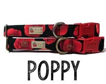 "Retro Chic & Vintage Dramatic Red Poppy Flower Floral Girl Dog Collar - Antique Metal Hardware - ""Poppy"""