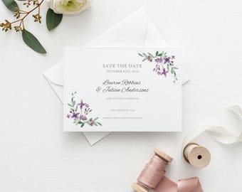 Printable Save The Date Printable - Floral Garden Wedding - Ready to Print PDF - Wedding Invites - Letter or A4 Size (Item code: P1009)