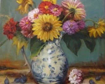 Flower Bouquet In Delft Pitcher Original Oil Framed