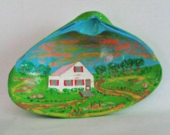 Hand Painting House on Seashell