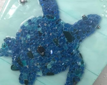 Cobalt blue Glass Sea Turtle on wood