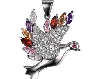 1 PENDANT 30 X 23 MM AAA TOPAZ 925 STERLING SILVER DOVE.