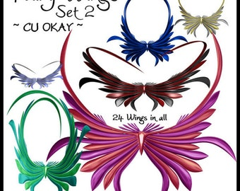 Fairy Wings Set 2 Graphics Clipart Collection - Royalty Free - 24 images