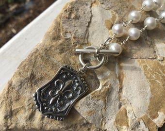 Sterling Fleur de Lis Necklace.  Fleur de Lis Charm Necklace on Freshwater Pearls.