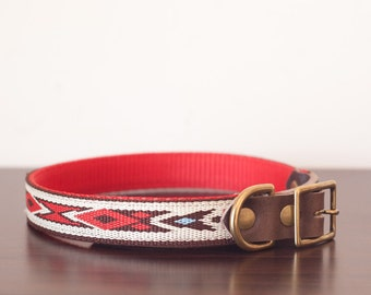 """Custom Leather Red/Brown/White Dog Collar. Navajo Red 3/4"""""""