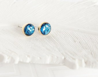 Blue Glitter Tiny Studs, Sparkly Studs, Blue Studs, Glitter Posts, Faux Druzy Studs, Faux Druzy Posts, Druzy Earrings, Small Studs