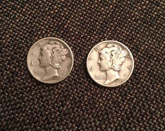 1944 And 1945 Mercury Dimes
