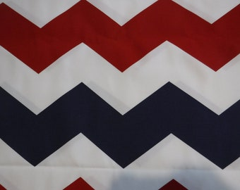"18"" x 18"" Pillow Cover Red White and Blue Zig Zag Pattern"