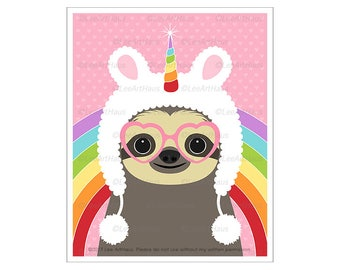 66J Animal Art Prints - Sloth Wearing Fuzzy Unicorn Hat Wall Art - Funny Animal Drawing - Rainbow Wall Decor - Unicorn Wall Art - Sloth Art