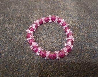 Purple two tone beaded handmade bracelet