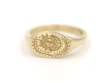 Sun and Moon Signet Ring