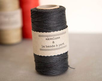 Linen black 10m for packaging, decoration, scrap, DIY, jewelry 1mm thick