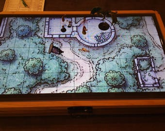 """32"""" Digital Map Case / Battle Mat for Dungeons & Dragons, Pathfinder and other Tabletop RPGs (with Fog of War) Optional Lichtenberg Figures"""