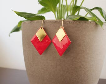 Earrings red geometric diamond Strawberry - enameled jewelry